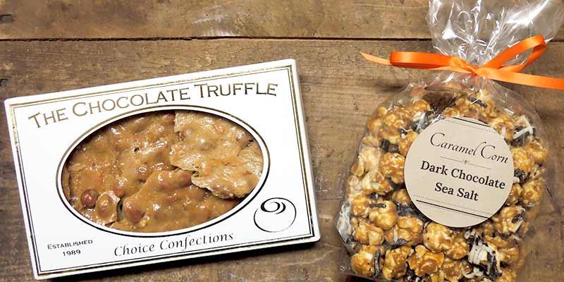 Peanut Brittle & Chocolate Caramel Popcorn