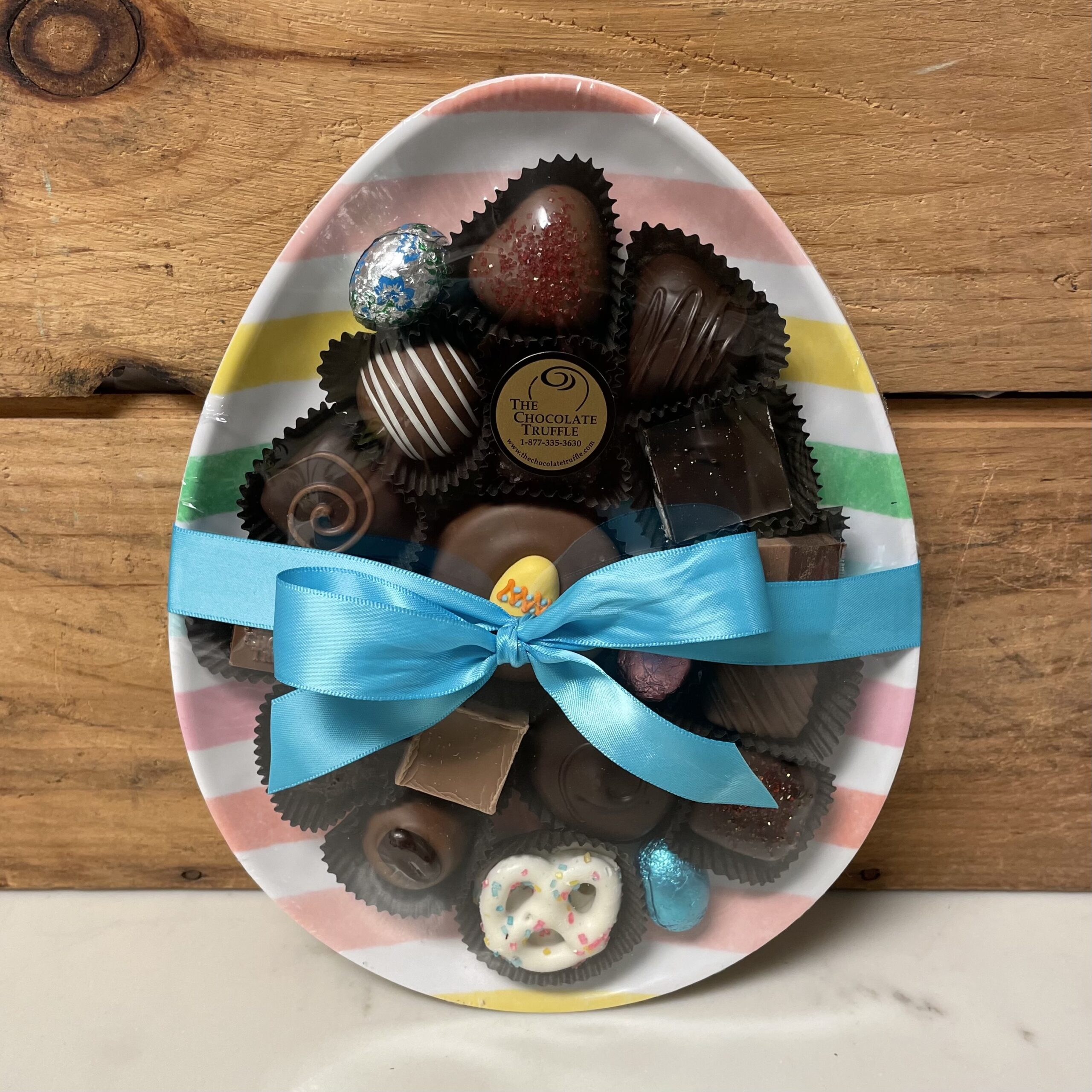 Egg Shaped Easter Plate Filled with 8oz of Hand Dipped Chocolate